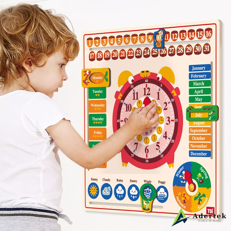 6-in-1 Calendar and Clock Kids Montessori Teaching Aids