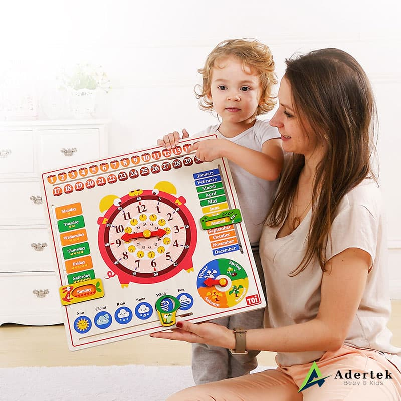 Mum Teaching Kids using 6-in-1 Calendar and Clock