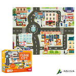 Floor city puzzle game floor mat