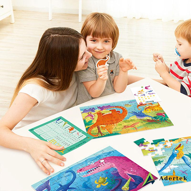 TOI Leveled Puzzle Mum and Kids Solving Puzzle