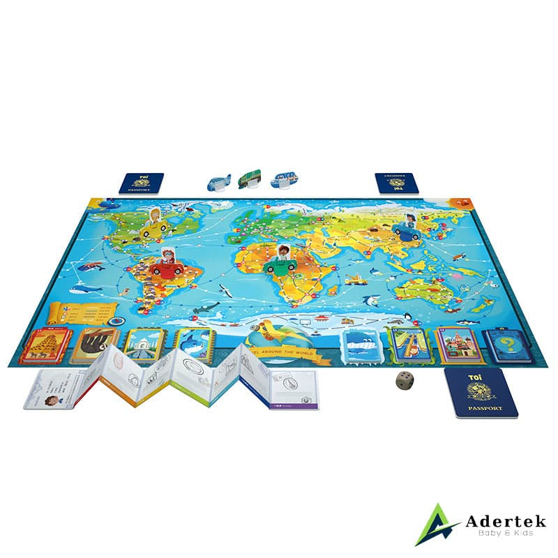 Travel Around The World World Map Puzzle, Passport and Instructions