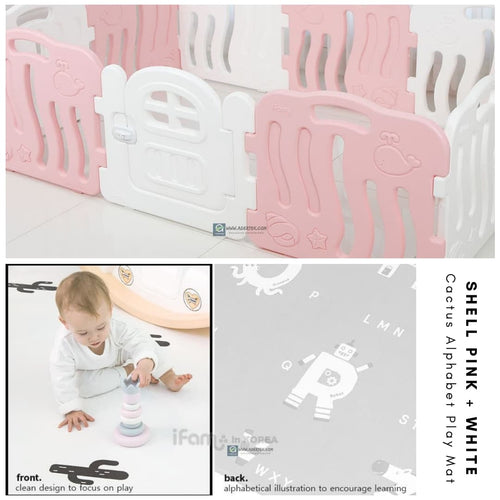 Shell Baby Play Yard + Cactus Alphabet Play Mat Bundle - Pink+White