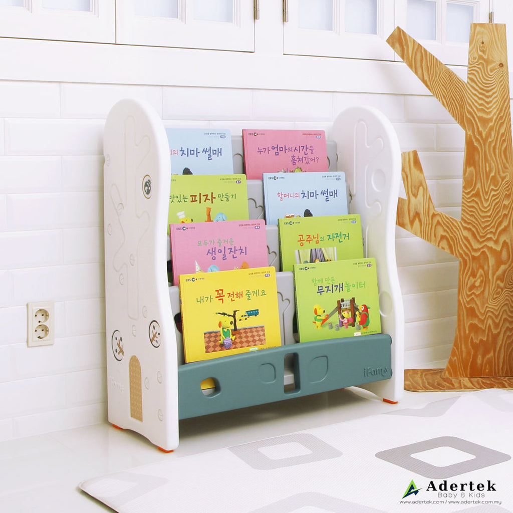 4-level, front-facing bookshelf for kids in white and green colour.