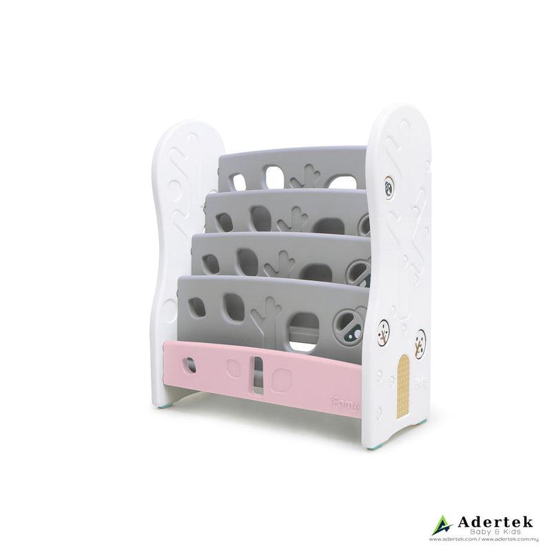 4-level, front-facing bookshelf with nature design in grey and pink colour for kids.