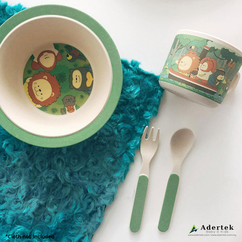 Rainforest Family Kids' Cutlery 5pcs Set big plate, bowl and cutlery
