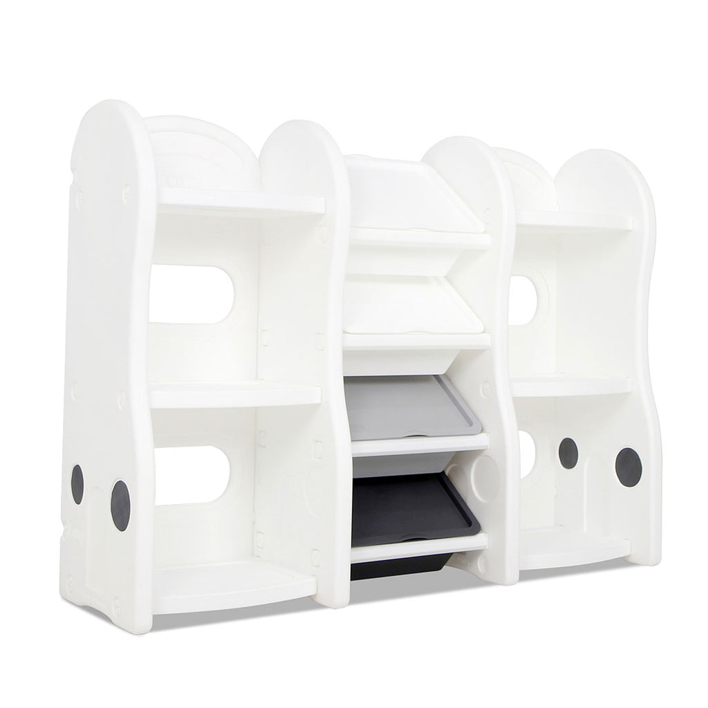Multi-functional children's toy organiser with lids in between 2 children's bookshelves.