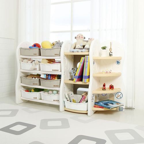 (Pre-Order) Design Toy Organizer (Special) - Beige (Grey+White Trays) at S$225