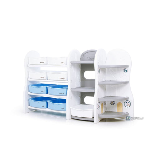 (Pre-Order) Design Toy Organizer (Special) - Grey (Blue+White Trays) at S$225