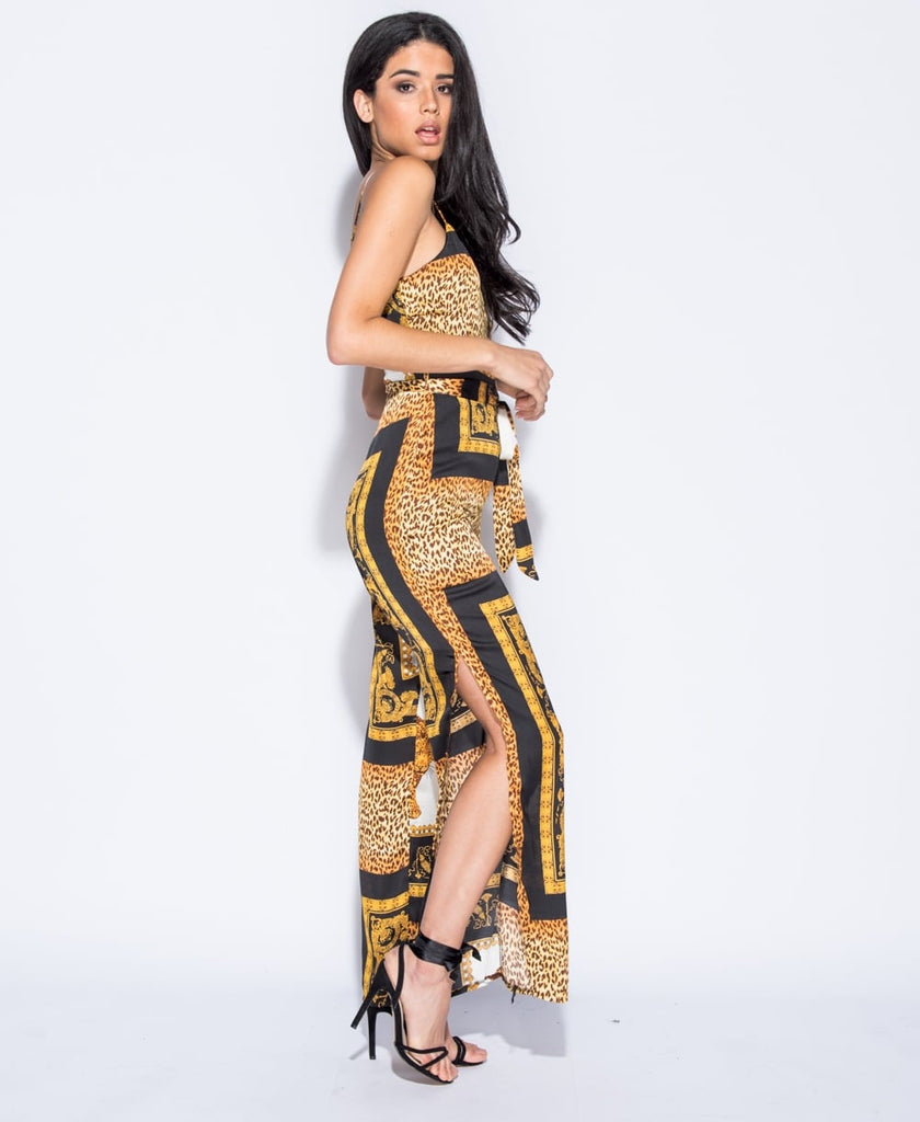 Animal Print Side Slit Jumpsuit