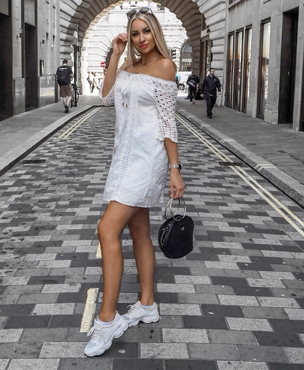 Bardot Lace Tie Front Flared Sleeve Swing Dress