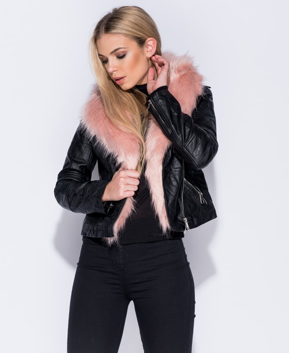 Black Faux Fur PU Biker Jacket