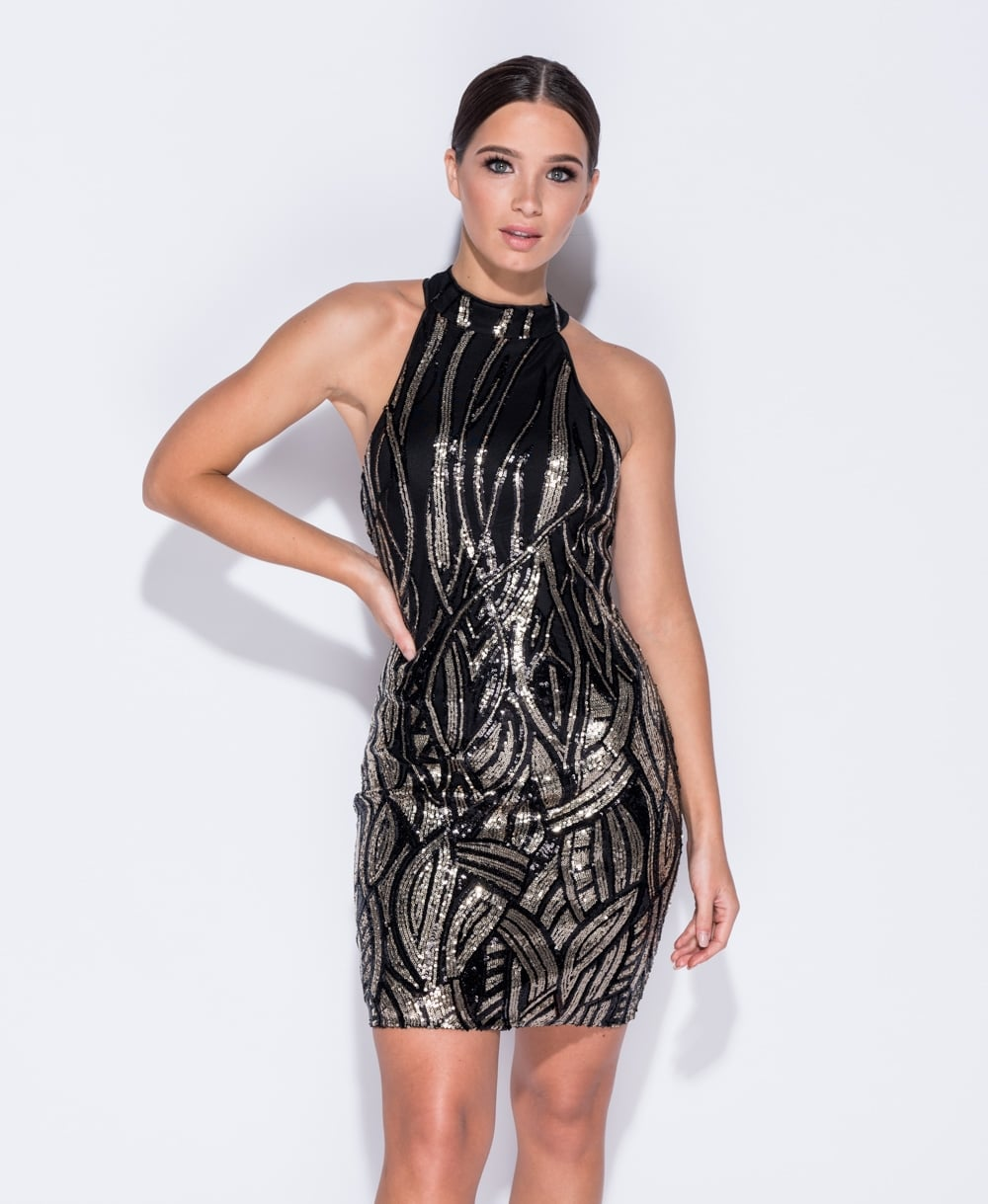 Black & Gold Sequin Front Bodycon Dress