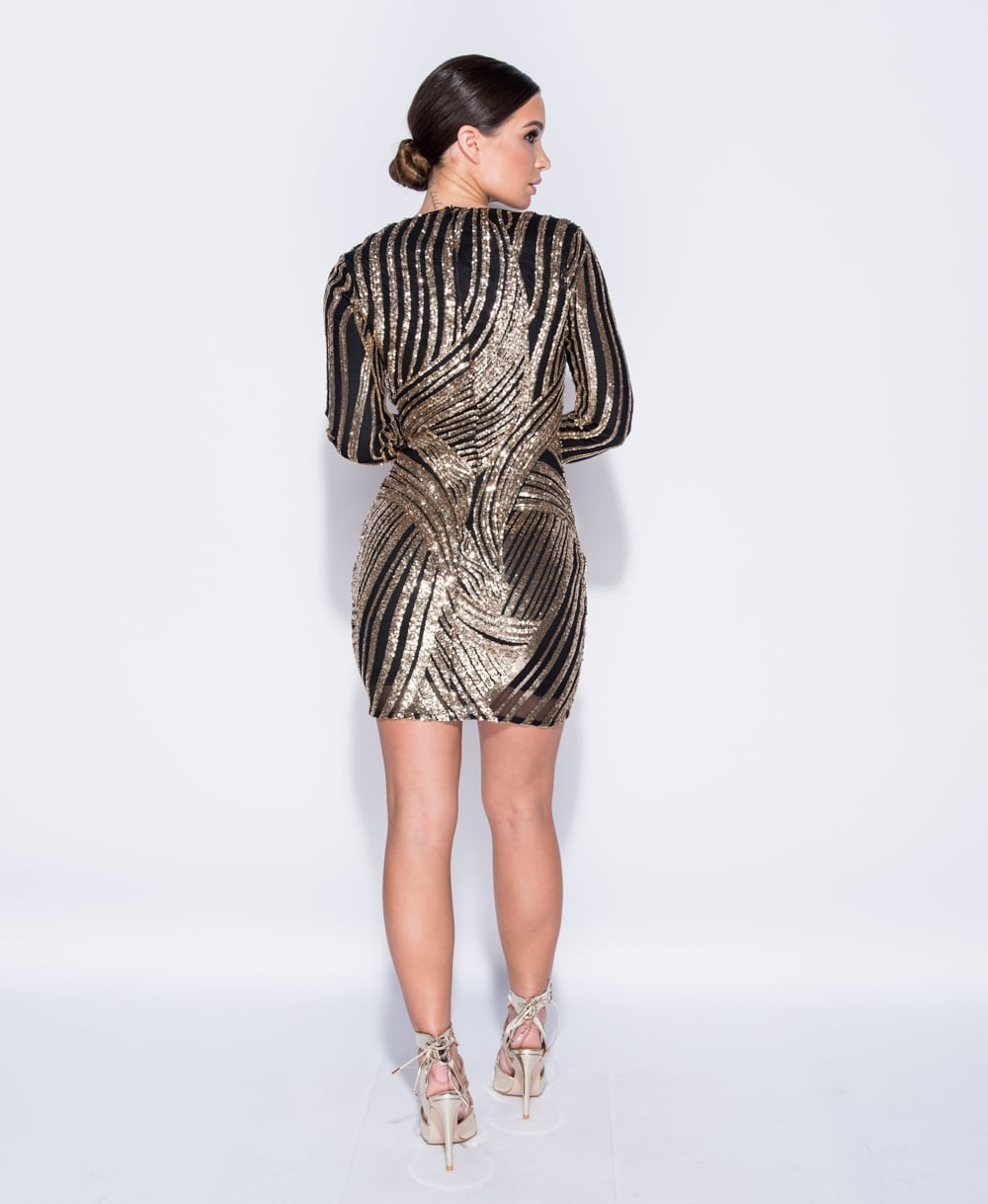 Black & Gold Sequin V Front Bodycon Dress