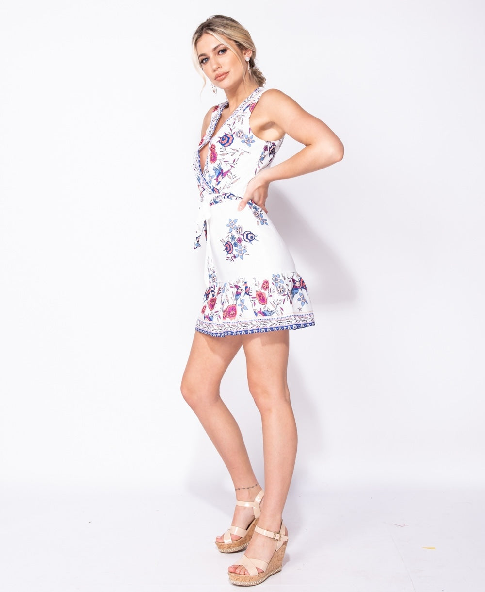 Border Floral Print Wrap Front Belted Mini Dress