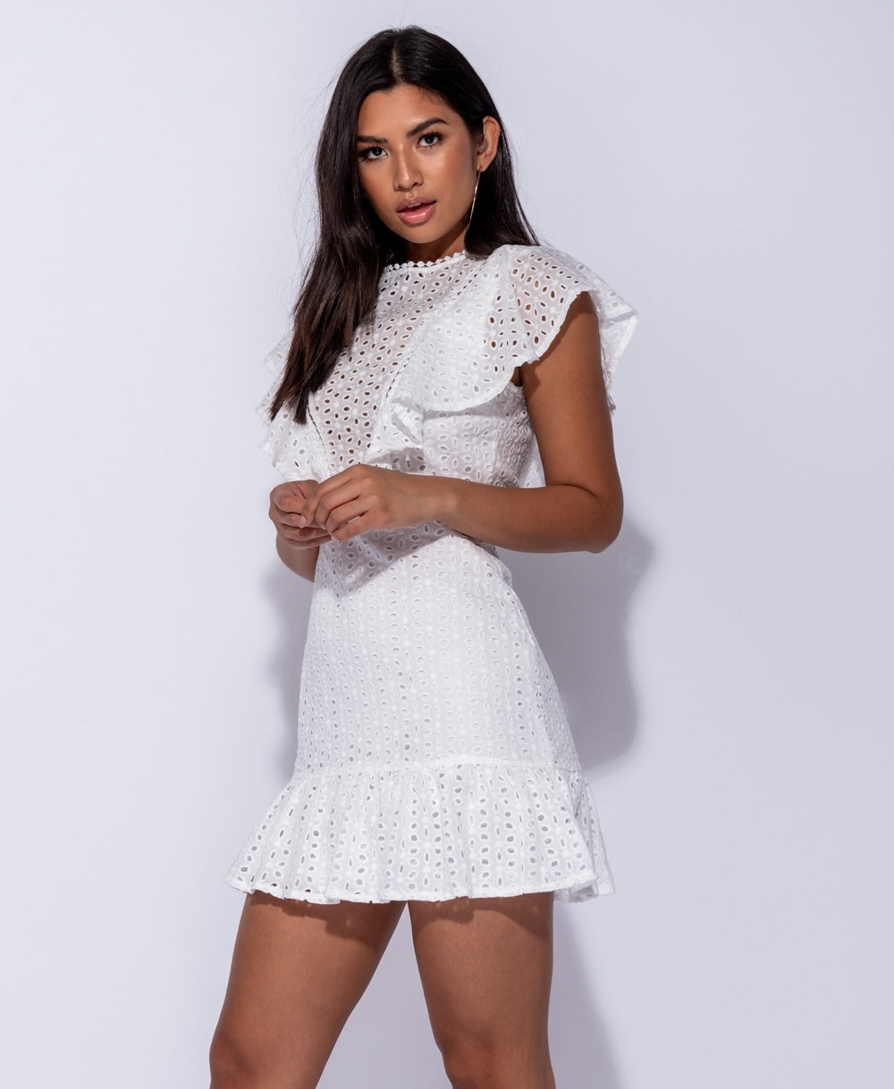 Broderie Lace Sleeve Cut Out Back Mini Dress