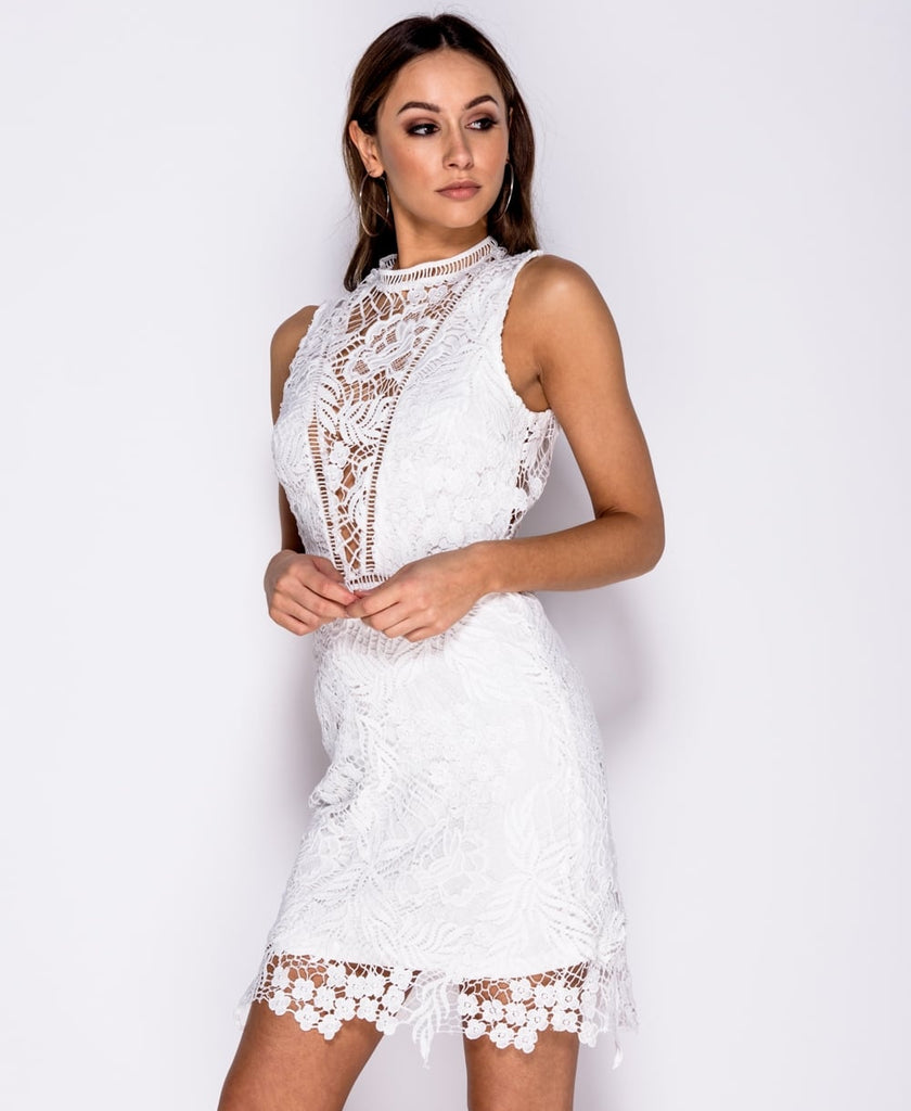 Crochet Lace High Neck Sleeveless Mini Dress