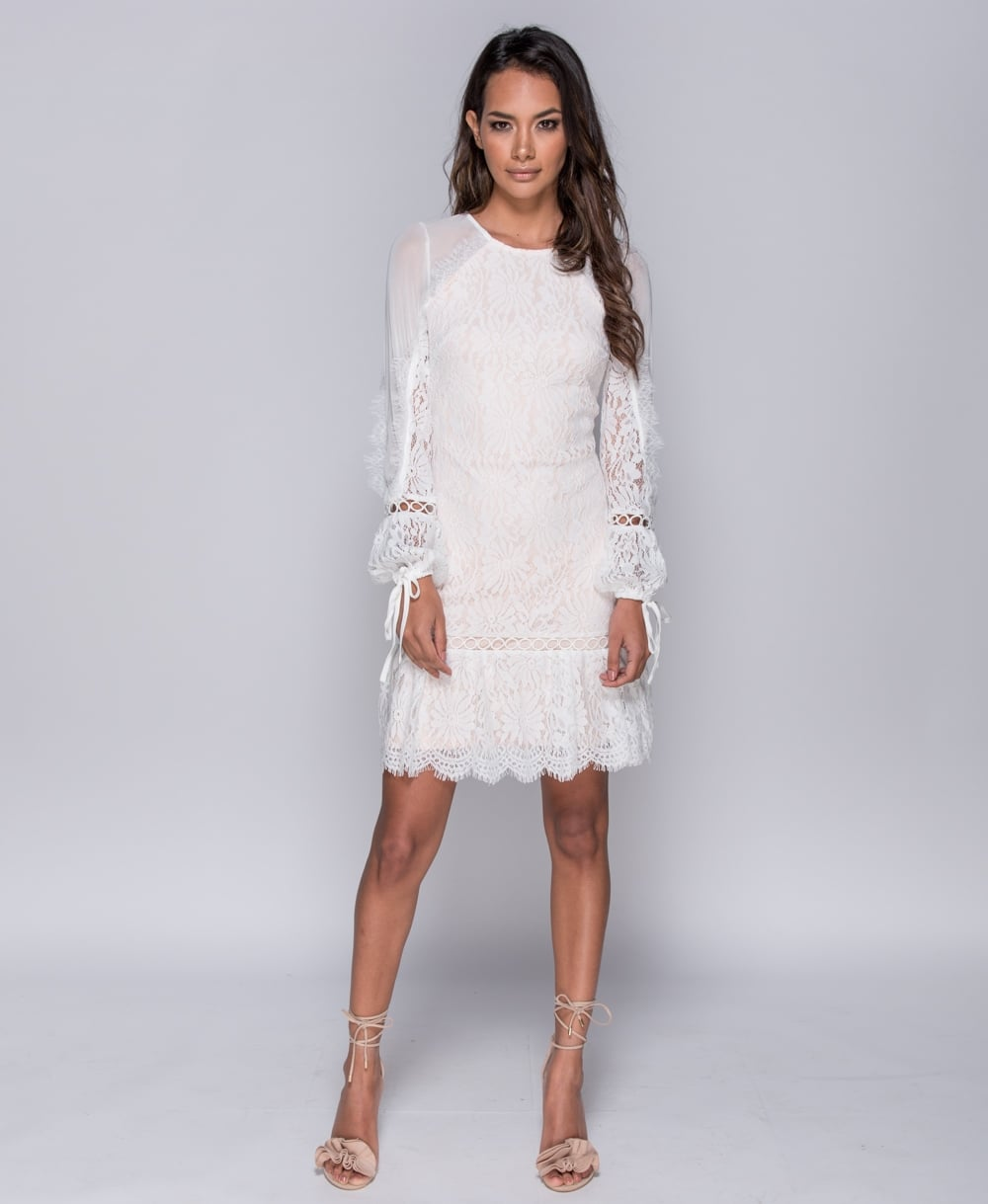 Eyelash Lace Long Sleeve Dress