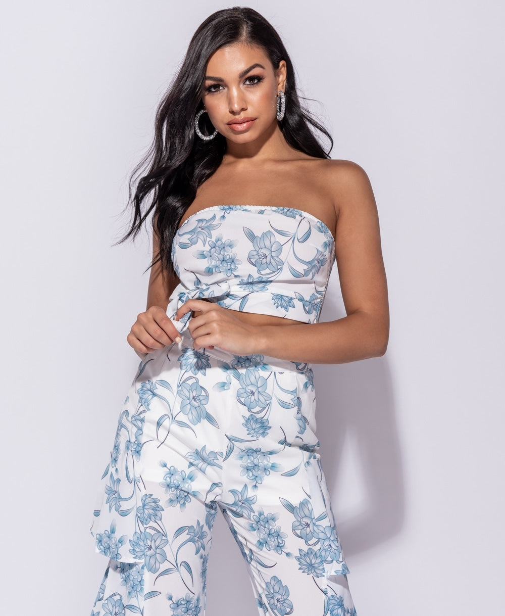 Floral Bandeau Tie Detail Crop Top & Flared Frill Trouser Co Ord Set