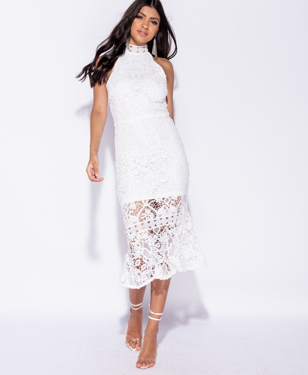 Floral Lace High Neck Sleeveless Midi Dress