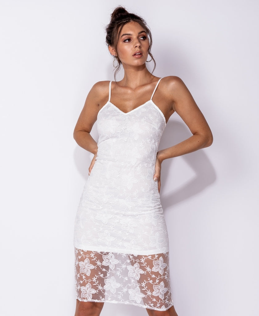 Floral Lace Sheer Hem Bodycon Midi Dress