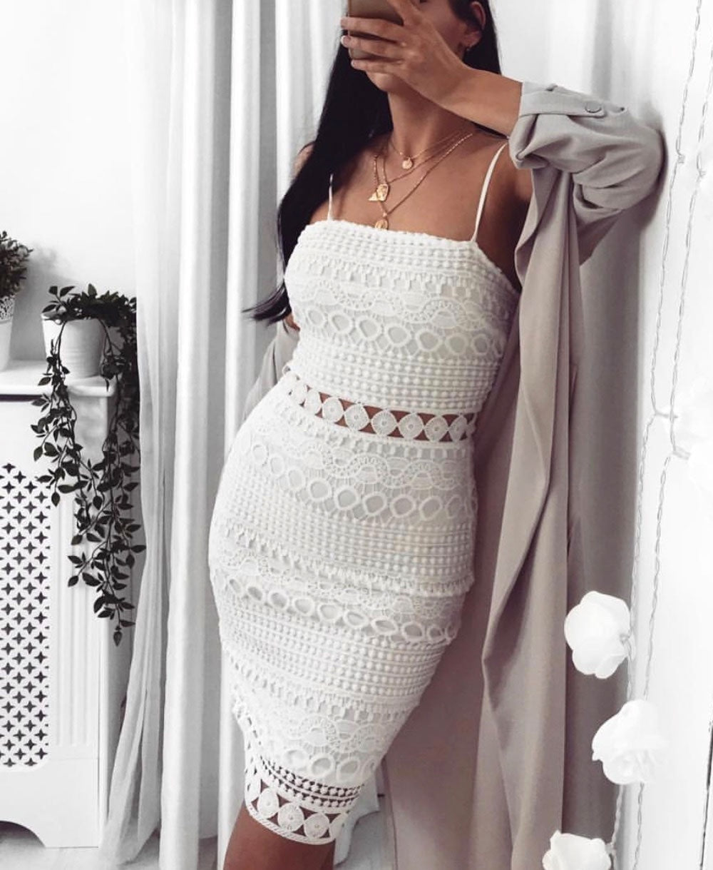 Lace Sheer Panel Cami Bodycon Dress