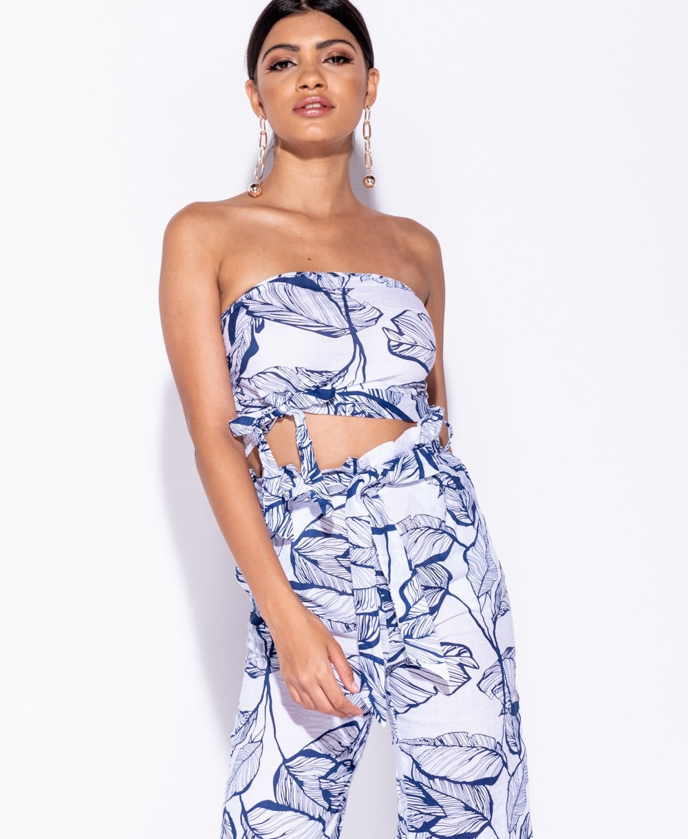 Leaf Print Tie Detail Crop Top & Paperbag Waist Trouser Co Ord Set