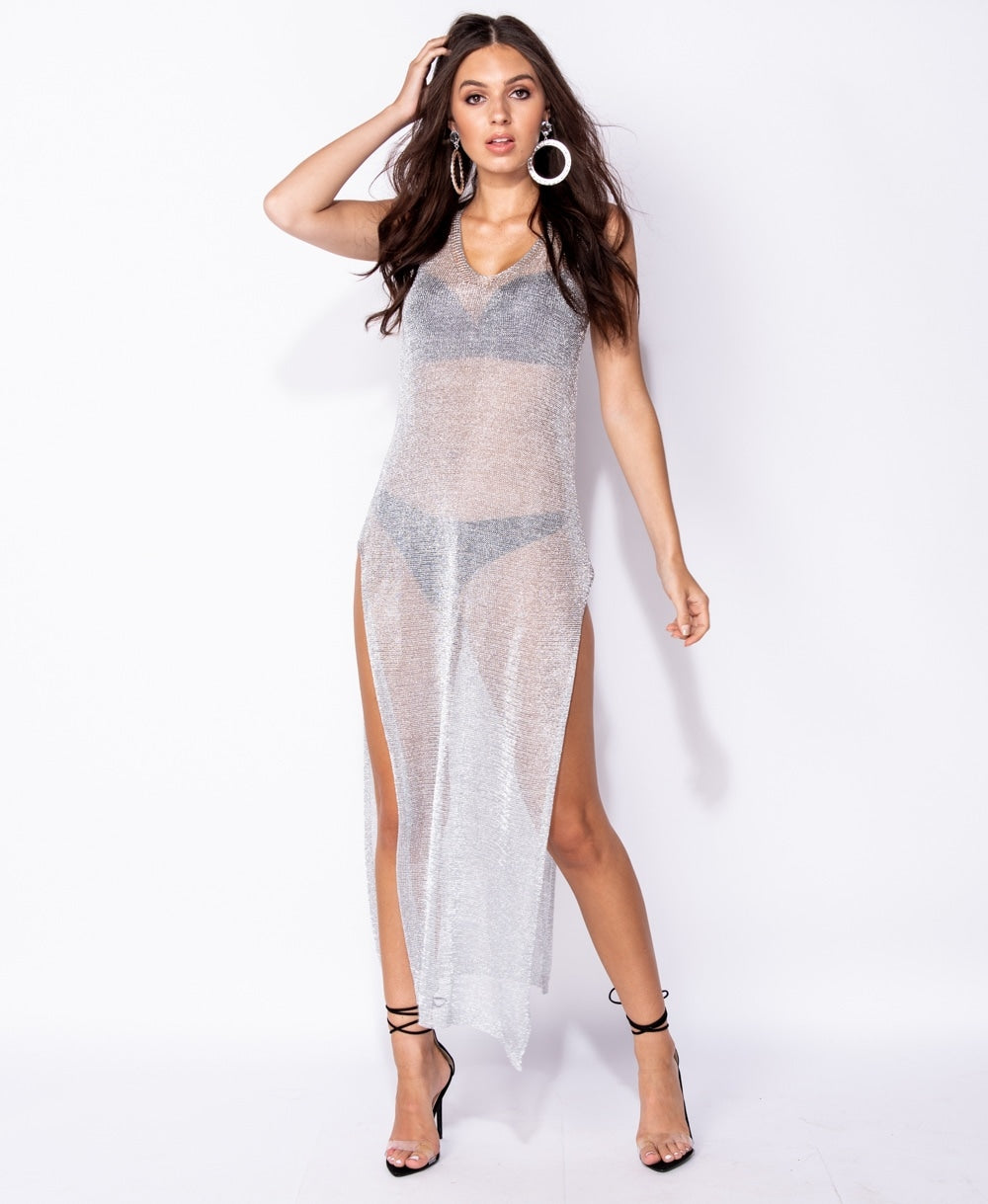 Metallic Lurex Jersey Side Split Sleeveless Maxi Dress