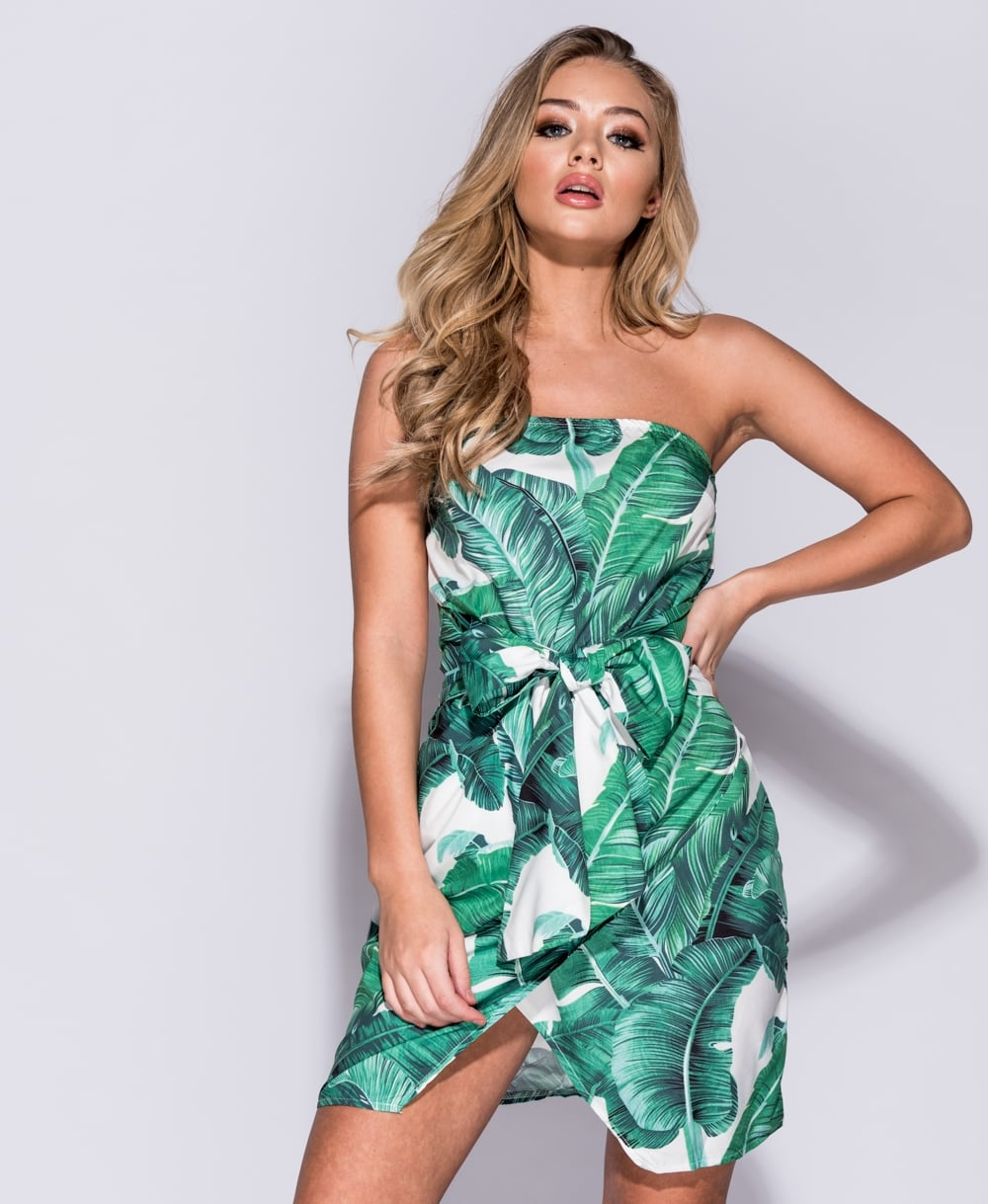 Palm Leaf Print Asymmetric Hem Dress