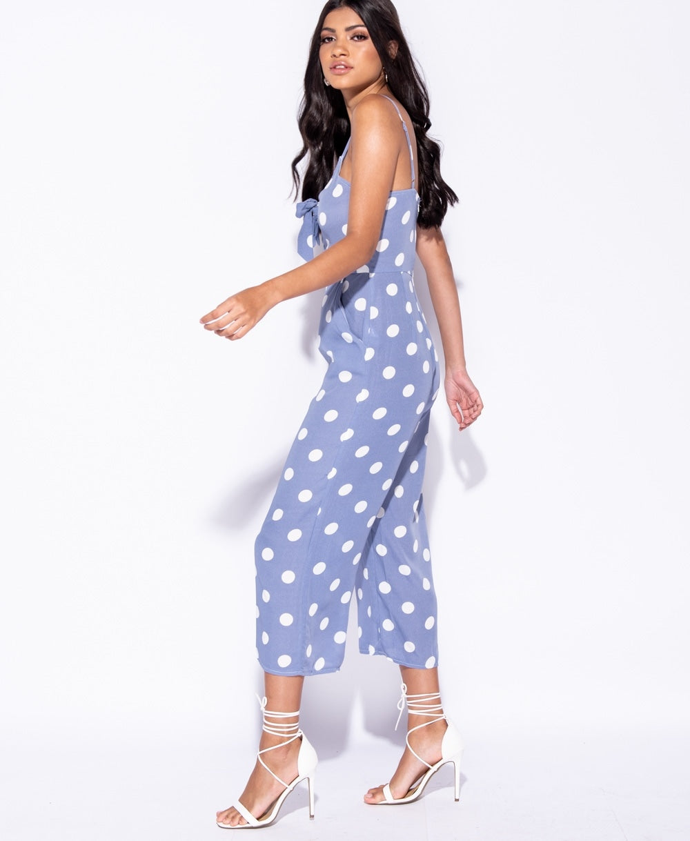 Polka Dot Front Tie Strappy Culotte Jumpsuit