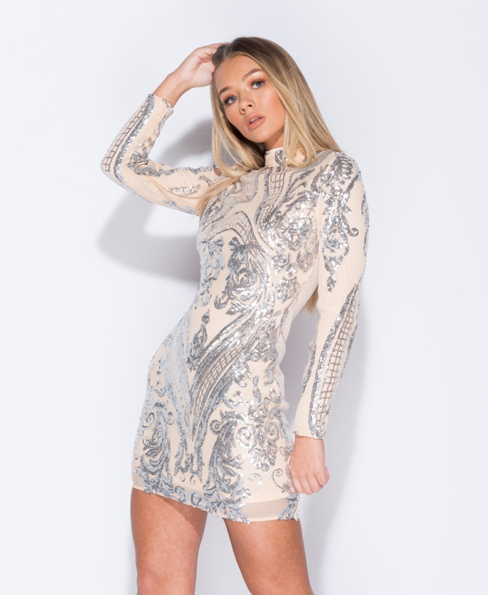Sequin High Neck Bodycon Dress