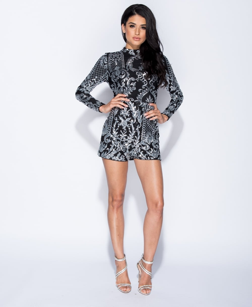 Sequin High Neck Playsuit