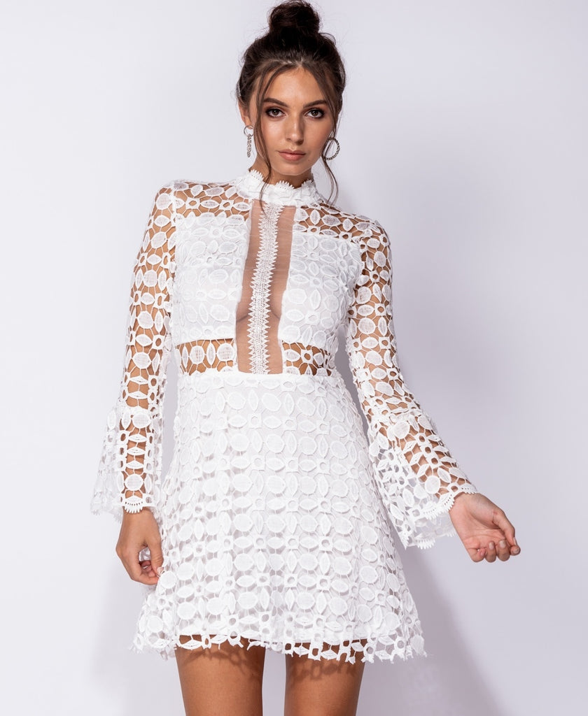 Sheer Lace Flare Sleeve High Neck Mini Dress