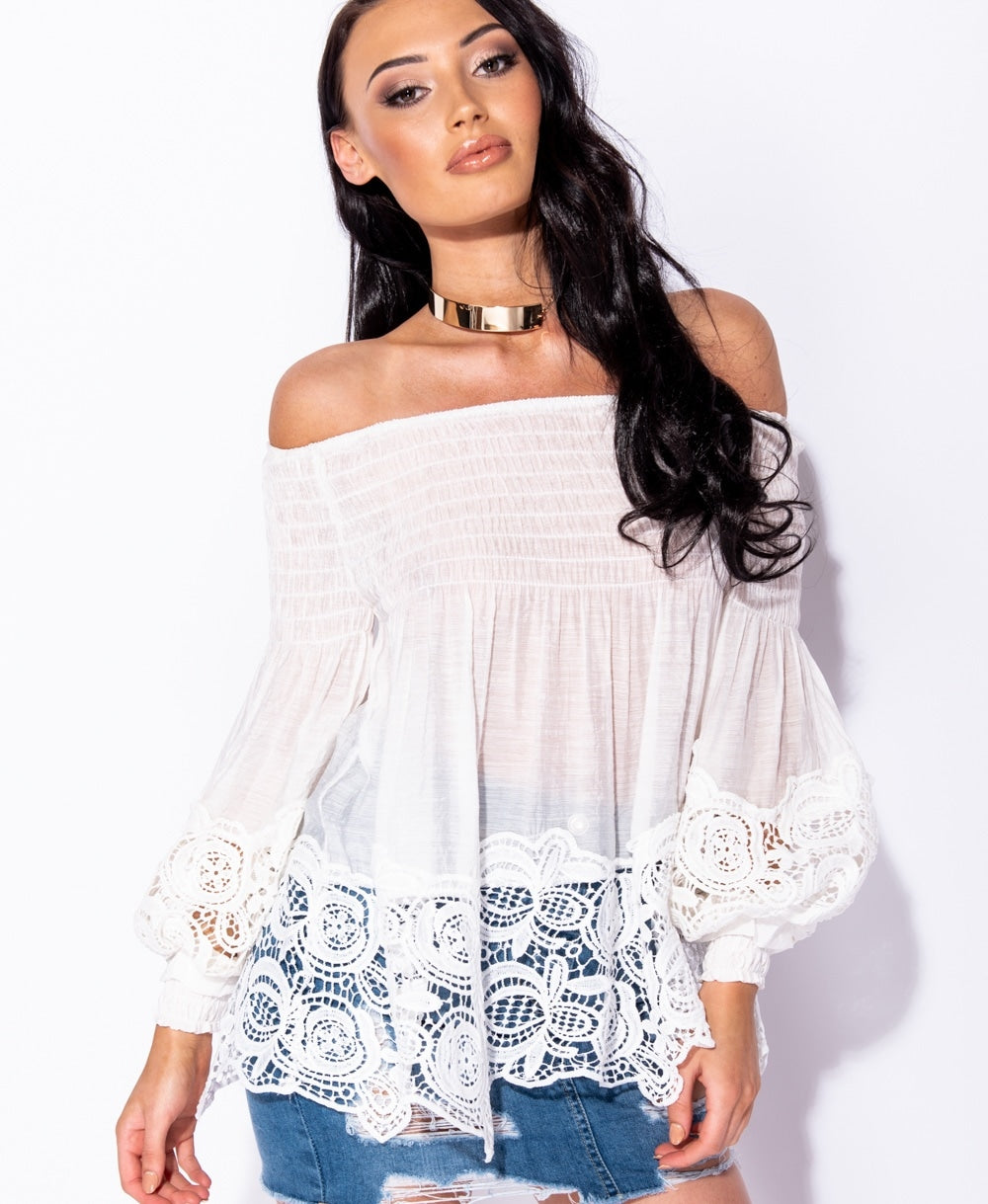 Shirring Detail Lace Trim Bardot Top