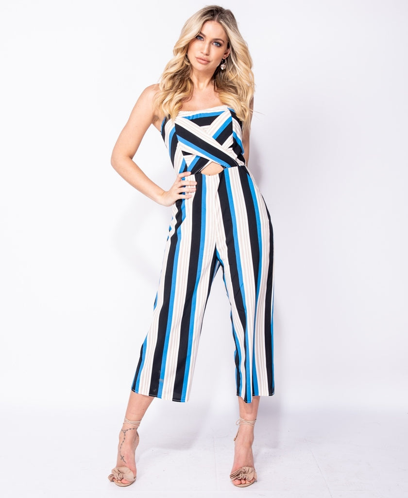 Vertical Stripe Cut Out Front Bandeau Cropped Jumpsuit