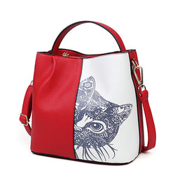 Cat Lover Leather Shoulder Bag