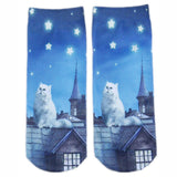 Vintage 3D Cat Low Cut Socks