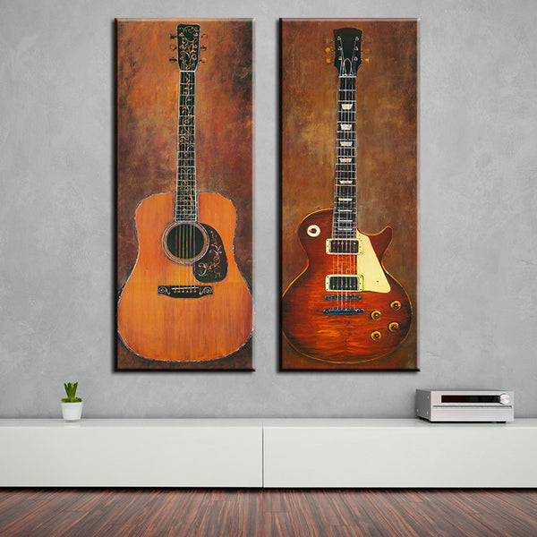 Beautiful 2 Piece Music Studio Guitar Wall Paintings (Unframed)