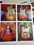 4 Piece Abstract Guitar Wall Paintings (Unframed)
