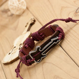 Free!  Antique-Style Genuine Leather Hollow Guitar Charm Bracelet