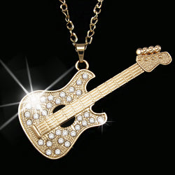 Gold Guitar Pendant Necklace with Long Chain