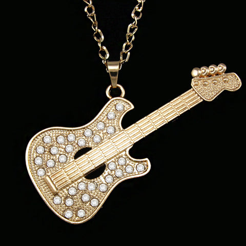 1400b7522 Gold Guitar Pendant Necklace with Long Chain – Guitar Exclusive