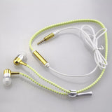 Glow In The Dark Zipper Cord Stereo Headphones With Mic