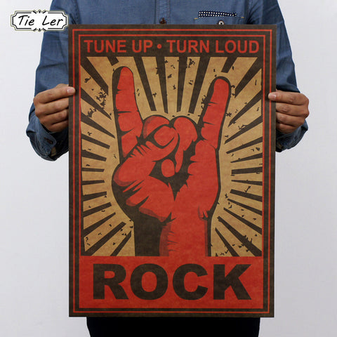 TIE LER Continue Rock and Roll Rock Gestures Nostalgia Metal Rock Posters Decorative Painting Wall Sticker