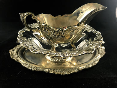 Wallace Gravy Boat, Bon Bon Bowl, and Underplate in Baroque