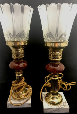Antique Glass and Marble Lamps