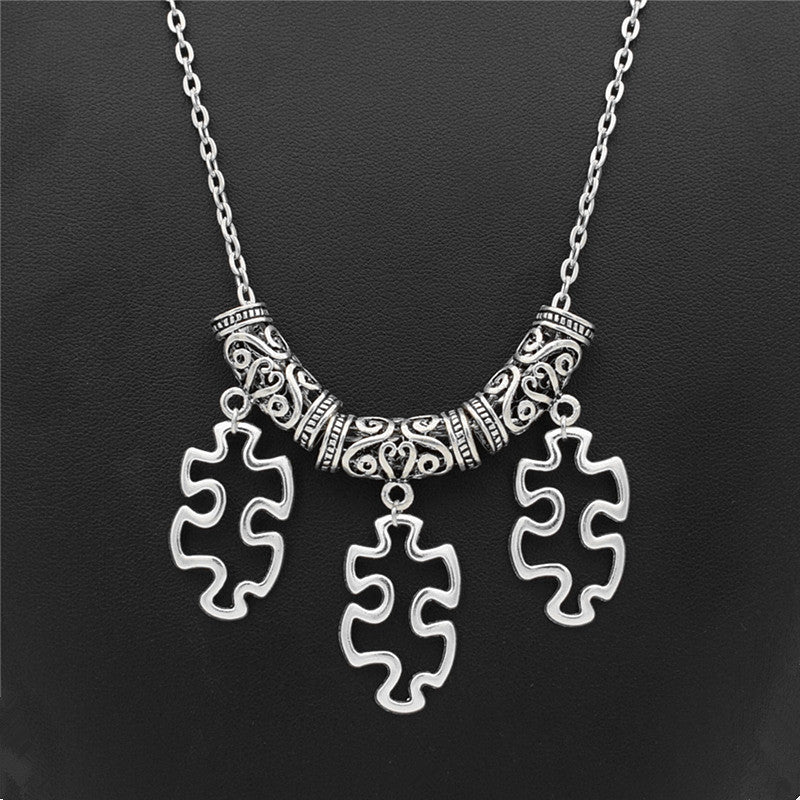 Vintage antique silver plated autism awareness puzzle pendants vintage antique silver plated autism awareness puzzle pendants necklace mozeypictures Images