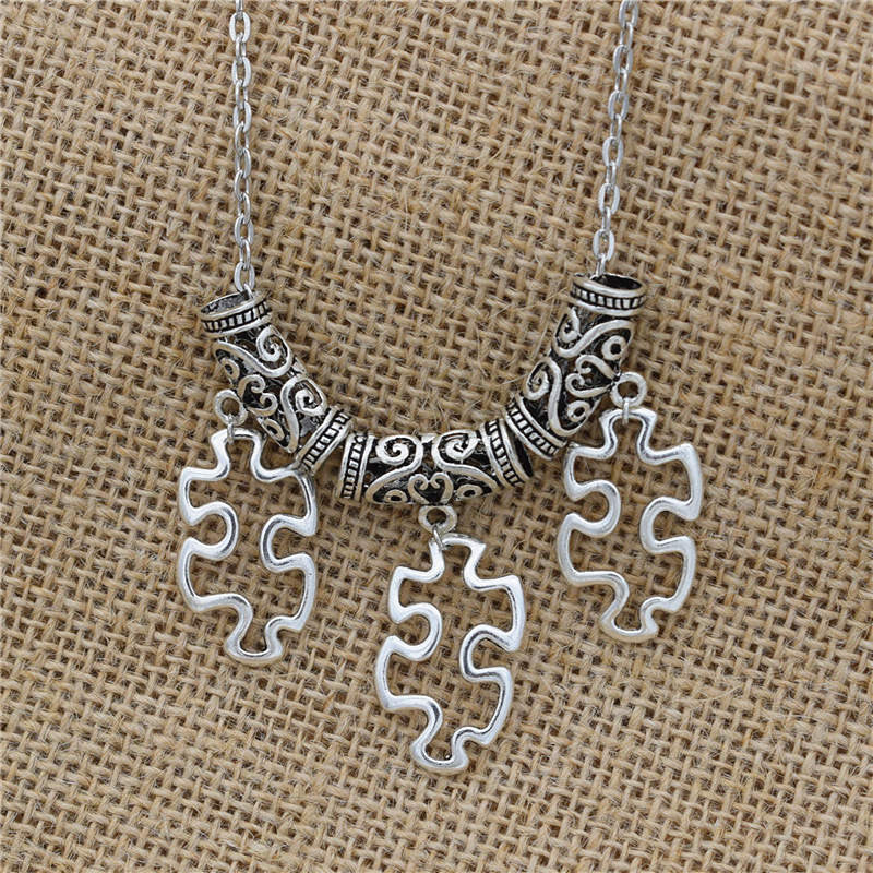 Vintage antique silver plated autism awareness puzzle pendants vintage antique silver plated autism awareness puzzle pendants necklace mozeypictures Gallery