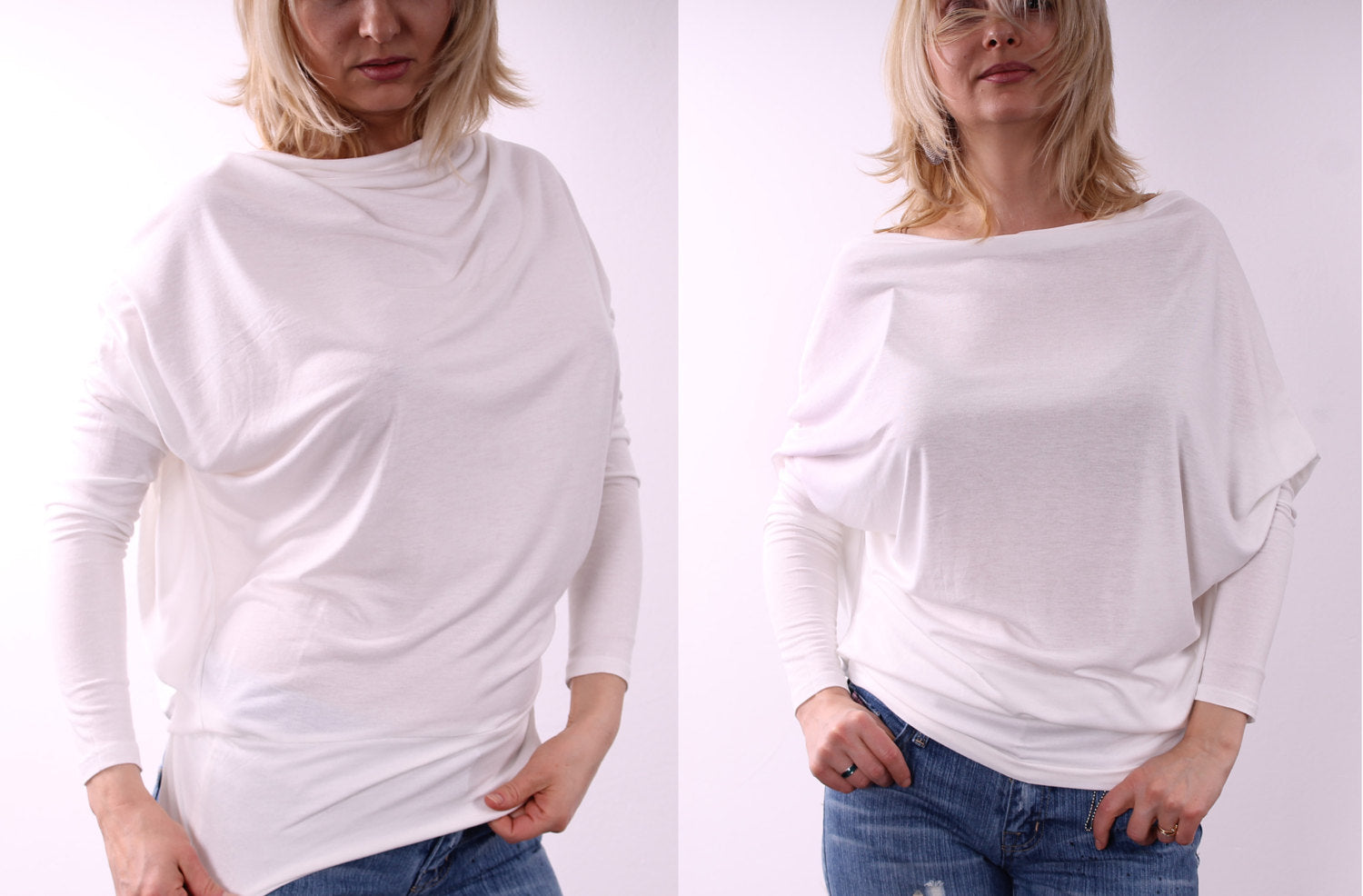 Blouse, white top, loose blouse, long sleeves top, loose top, oversized tshirt by UrbanMood - CO-JUDY2-PT