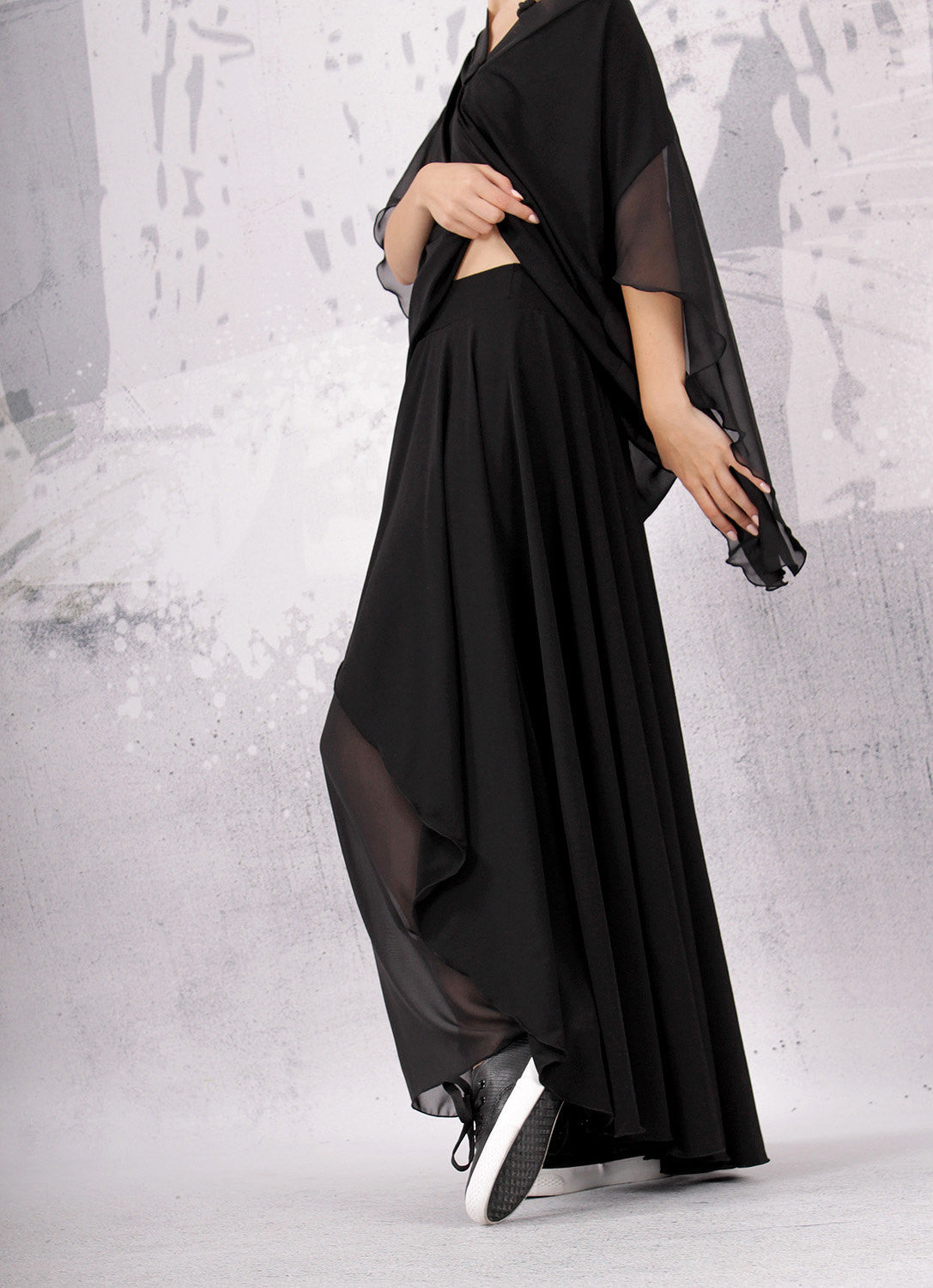 Skirt,Black long skirt with two layers,maxi skirt,UM072VLCH