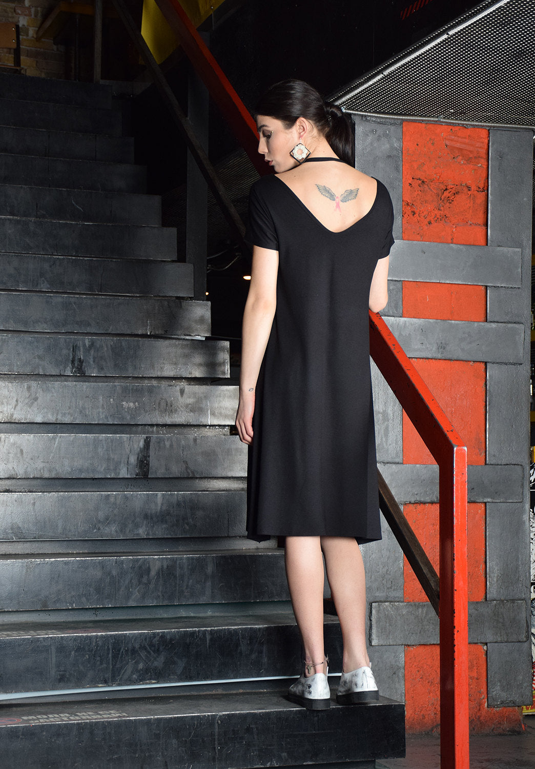 Black Dress, Black Midi Dress, Knee length dress, A line dress, V neckline black dress, long dress, loose dress, Minimalist Dress -UM-078-VL
